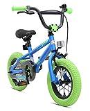Bikestar Freestyle Sicherheits Kinderfahrrad 12 Zoll für Mädchen und Jungen ab 3-4 Jahre  12er Kinderrad Kinder BMX  Fahrrad für Kinder Blau & Grün
