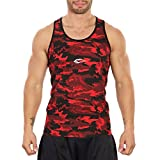 SMILODOX Camouflage Tank Top Herren | Muskelshirt Ideal für Sport Gym Fitness & Bodybuilding | Muscle Shirt - Stringer - Tanktop - Unterhemd - Achselshirt, Größe:S, Farbe:Rot Camo