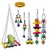 GingerUP 6 Stück Bunten Vogelspielzeug, Vögel Spielzeug Vogel Papagei Schaukel Spielzeug mit Naturholz Hängematte Hängenden Barsch für Sittiche Nymphensittiche