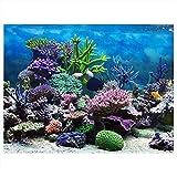 Fdit Aquarium-Hintergrund, Vinyl, Selbstklebend, Unterwasserkorallenriff, Dekoration, Papier, 76 * 46cm