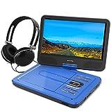 WONNIE 10.5' Tragbarer DVD-Player, Schwenkbaren Bildschirm, HD Display 4-5 Stunden Akku, USB / SD Slot Mit Kopfhörer, Perfekte Geschenke für Kinder (Blau)