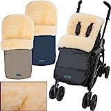 Winterfußsack / Fußsack (100% ECHTES LAMMFELL) für Kinderwagen / Buggy / Jogger Kinderwagenfußsack (SCHWARZ)