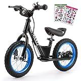 ENKEEO Premium Laufrad 12 Zoll & 14 Zoll Kinderlaufrad Lernlaufrad Balance Bike mit DIY-Aufkleber, Bremsen und Klingel ab 2 Jahren (12' Schwarz)