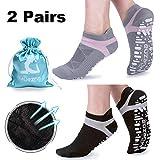 Muezna Yoga Socken Damen Frauen Mädchen rutschfest Atmungsaktiv Ideal für Yoga Pilates Tanz Fitness Sport Workout-Socken mit Baumwolle (Schwarz Grau)