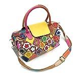 YJIUJIU Damen Luxuriös Leder Rucksack Umhängetasche Handtaschen Henkeltaschen Schultertasche Blumen Aus Echtem Leder In Bunten Farben
