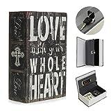 SAFETYON vintage Buchtresor mit Schlüssel, versteckter Buch Geldkassette im wörterbuch feuerfest, Buchsafes getarnt als Roman 18 X 11.7 X 5.5cm LOVE