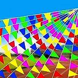 Cojoy 50M Runde Seil Wimpelkette, Nylon Stoff Wimpel mit 100 Stück Dreieck Flaggen, Mehrfarbig Flag Banner für Outdoor Indoor Aktivität