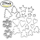 Lynlon Ausstechformen Ausstecher Set [27 Stück], Backen Kuchen Cutter - Weihnachten Baum, Lebkuchen Mann, Schneeflocke, Star, Heart-Shaped aus Edelstahl-Modell