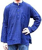 HEMAD Herren Hemd Fischerhemd reine Baumwolle L blau