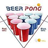 100 Partybecher Beer Pong Becher + 10 Beer Pong Set Plastikbecher 480ml ( 16 OZ )Bier Pong Cups Party Becher | Wiederholbare Trinkbecher Camping Cocktail Bier Weihnachten Geburtstag Hochzeit