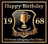 3 St. Aufkleber Original RAHMENLOS Design: Selbstklebendes Flaschen-Etikett zum 50. Geburtstag: 1968 Der beste Jahrgang