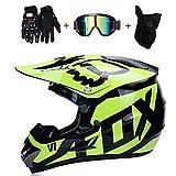 NOMEN Erwachsener Motocross-Helm MX-Motorradhelm-Roller MTB-Helm Straßenrennen D. O. T Zertifizierter Fox mit Handschuhmaske Winddichte Brille (S, M, L, XL), Schwarz Grün,L:59~60CM