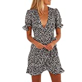 Shujin Damen Sommerkleid V ausschnitt Volant mit Rüschen Verband Polka Dots Drucken Wickelkleid A-Linie Partykleid Cocktailkleid