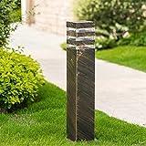 Außenleuchte Pollerlampe Außen-Standleuchte Wegeleuchte Aluminium Bronze Outdoor Gartenlampe E27-Fassung Ockelleuchte Pfad-Wege-Beleuchtung Rasen Lampe,13 * 13 * 60CM