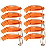 Notfall Überleben Sicherheit Pfeife in Orange 10er Pack – Perfekt fürs Wandern, Camping, Zelten, Trekking, Survival, SOS, Lebensrettung