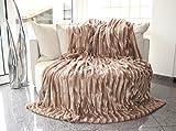 Doppelseitig Decke Fellimitat von Brandsseller Creme/Weiß 150x200 cm