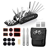 MelkTemn Fahrrad Reparatur Set, 16 in 1 Multifunktionswerkzeug Reparatur Fahrradwerkzeug Tool, Fahrrad-Multitool mit Tasche, Selbstklebendes Fahrradflicken, Reifenheber, Usw