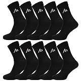 10 Paar i1R Damen & Herren Socken Sportsocken Tennissocken Baumwolle Schwarz oder Weiß (43-46, 10 Paar | Schwarz)