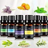 Ätherische Öle Set, Joylink 6 x 10 ml Aromatherapie Duftöl 100% Pure Ätherische Öle Geschenk-Set Aromatherapie therapeutisches Öl Für Diffuser/Duftlampen/Lufterfrischer Geeignet