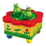 Spieluhr 'Froschteich' / Babyspielzeug aus Holz, mit abnehmbaren, bunten Magnet-Figuren, tanzende Frösche und eine schöne Melodie verzaubern Babys und Kinder