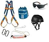 Fallschutzausrüstung mit KASK Helm und verdunkelter Schutzbrille
