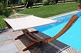 XXL Luxus Hängemattengestell aus Holz Lärche Hängematte Modell: 'DOMINICA' 410cm mit Stabhängematte von AS-S