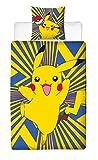Linon Kinder Wende-Bettwäsche Pokémon ' Motiv Go Pikatchu ' Neu & Ovp Renforcé - 135 x 200cm + 80 x 80cm - 100% Baumwolle - Pokemon Kinerbettwäsche - deutsche Standardgröße - 2 Vollmotive