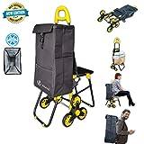 NOUVOT Einkaufstrolley Klappbar Treppensteiger mit Kühlfach, 3RäderEinkaufswagen mit Faltbar Sitz, Einkaufsroller Trolly