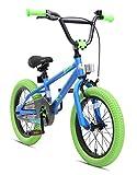 BIKESTAR Freestyle Sicherheits Kinderfahrrad 16 Zoll für Mädchen und Jungen ab 4-5 Jahre  16er Kinderrad Kinder BMX  Fahrrad für Kinder Blau & Grün