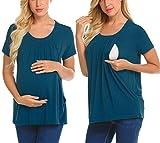 Unibelle Damen Still Umstands-Top Lagendesign Farbblock-Design Kurzarm Blau XL, Pfaublau