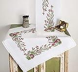 Kamaca Stickpackung Tischdecke FLIEGENPILZ Kreuzstich vorgezeichnet aus Baumwolle Stickset mit Stickvorlage (Mitteldecke 80x80 cm)