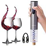 Ankway Automatisch Elektrischer Weinöffner Flaschenöffner Korkenzieher mit Kapselschneider, Batteriebetrieb -- Silber-Grau