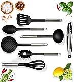 G&K Kitchenware Premium Küchenhelfer Set aus Kunststoff in schwarz 7-Teilig mit Rostfreiem Edelstahl Griff - Hohe Hitzebeständigkeit - Das perfekte Küchenutensilien Set für Deine Küche