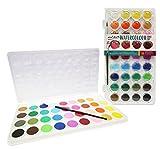Mont Marte Wasserfarben Set - 36 brilliante Farben - Hohe Pigmentierung - Inklusive Pinsel - Kompaktes Set - Ideal für Aquarellmalerei - Perfekt geeignet für Anfänger, Profis und Künstler