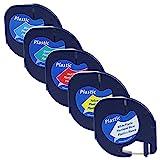 5x verschiedenfarbiges Unistar Etikettenband, Dymo LetraTag 12mm x 4m Schriftband, kompatibel mit Dymo LetraTag Etikettendruckern LT-100H LT-100T LT-110T QX 50 XR XM 2000 Plus; (äquivalent zu 91201-5