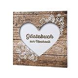Gästebuch Herzenssache zur Hochzeit - Hochzeitsgästebuch in rustikaler Holzoptik mit weißem Herz und Spitzen Aufdruck