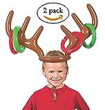 Gusspower Aufblasbare Rentier Geweih Hut, Zwei-Spieler Urlaub Ringwurf Spiel Spielzeug für Weihnachtsfeier Geschenk, Spielregeln enthalten, 2 Geweih, 8 Ringe
