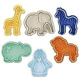 Städter Kinderset - Prägeausstecher Zootiere (Giraffe, Zebra, Elefant, Löwe, Pinguin, Nilpferd)