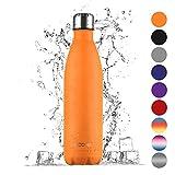 Ecooe Thermosflasche 750 ml doppelwandig Trinkflasche edelstahl Wasserflasche Vakuum Isolierflasche (Orange)