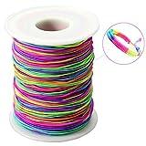 LEBENSWERT Elastische Schnur (1mm) Regenbogen Perlenschnur DIY Handwerk Bastelnschnur Beading Cord String Faden zum Auffädeln Kinder Gummiband für Armbänder Haarband