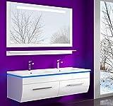 Weiss 120 cm Badmöbel Set Waschbecken Spiegel und Ablage Vormontiert Badezimmermöbel Doppelwaschbecken LED Hochglanz Lackiert Homeline1