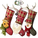 Weihnachtsstrümpfe Set von 3 Santa, Rentier, Schneemann Xmas Character,Plüsch Leinen Hanging Tag Strickborte, Nikolausstiefel zum befüllen Weihnachtsstiefel, Weihnachtssocken Stilvolle für Weihnachten