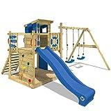 WICKEY Stelzenhaus Smart Camp Holzspielhaus Spielturm Kletterturm mit schrägem Holzdach Doppelschaukel Sandkasten Kletterwand, blaue Plane + blaue Rutsche