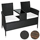 TecTake Sitzbank mit Tisch Poly Rattan Gartenbank Gartensofa inkl. Sitzkissen - diverse Farben - (Schwarz | Nr. 401547)
