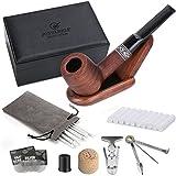 DIMJ Tabakpfeife gerade mit Luxus Raucher Box, Rosenholz Pfeifen Set Einschließlich faltbaren Pfeifenständer, 3-in-1-Pfeifenstopfer und andere Pfeifen Zubehör