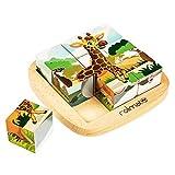Rolimate Bilderwürfel Holz, Würfelpuzzle Puzzlespiele 6 in 1Tier-Motive mit 9 Würfel Holzspielzeug für Kinder ab 2 3 4Jahren, 12 x 12cm, bunt
