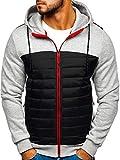 BOLF Herren Kapuzenpullover Outdoor Hoodie Warme Sportjacke Reißverschluss Sport Style J.Style KS1883 Grau XXL [4D4]