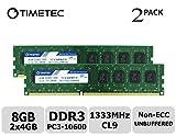 Timetec Hynix IC DDR3 1333MHz PC3-10600 Unbuffered Non-ECC 1.5V CL9 2Rx8 Dual Rank 240 Pin (8GB(4GBx2))