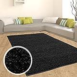 Teppich Shaggy Hochflor Langflor Flokati Einfarbig/ Uni aus Polypropylen in Schwarz für Wohn-Schlafzimmer, Größe: 120x170 cm