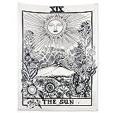 Alumuk Tarot Tapisserie Wandbehang Wandteppich, Mandala Tuch Wandtuch Mittelalterliche Europa Divination Tapestry The Moon The Star The Sun ALS Dekotuch/Tagesdecke (130 x 150cm, The Sun)